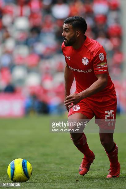 Pedro Canelo of Toluca drives the ball during the 6th round match between Toluca and Monterrey as part of the Torneo Clausura 2018 Liga MX at Nemesio...