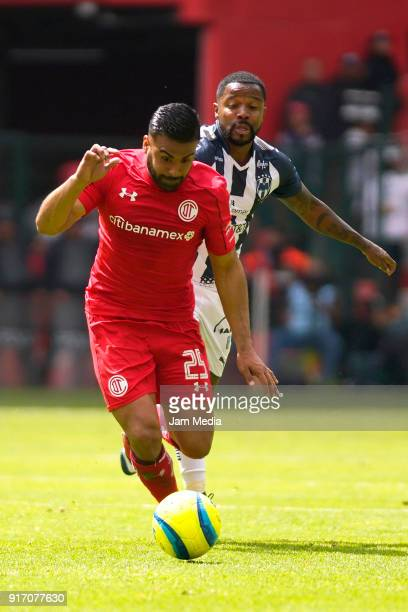 Pedro Canelo of Toluca fights for the ball with Dorlan Pabon of Monterrey during the 6th round match between Toluca and Monterrey as part of the...