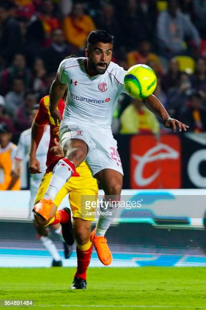 Pedro Canelo of Toluca jumps for the ball during the quarter finals first leg match between Morelia and Toluca as part of the Torneo Clausura 2018...
