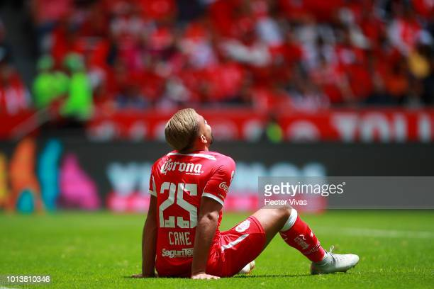 Pedro Canelo of Toluca reacts during the third round match between Toluca and Chivas as part of the Torneo Apertura 2018 Liga MX at Nemesio Diez...