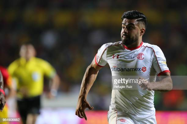Pedro Canelo of Toluca runs during the quarter finals first leg match between Morelia and Toluca as part of the Torneo Clausura 2018 Liga MX at Jose...