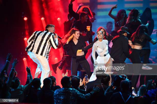 Pedro Capo and Becky G perform live on stage during Univision's Premio Lo Nuestro 2020 at AmericanAirlines Arena on February 20 2020 in Miami Florida