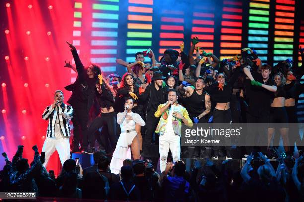 Pedro Capo Becky G and Carlos Rivera perform live on stage during Univision's Premio Lo Nuestro 2020 at AmericanAirlines Arena on February 20 2020 in...