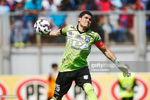 Pedro Carrizo of San Marcos de Arica throws the ball during a match between San Marcos de Arica and U de Chile as part of fourth round of Torneo...