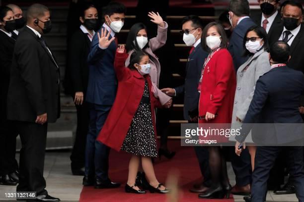 Pedro Castillo's children arrive at Congress for the presidential inauguration on July 28, 2021 in Lima, Peru. Castillo of Peru Libre defeated Keiko...