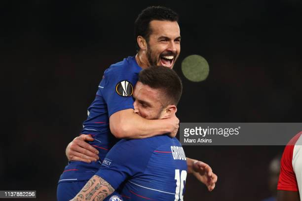 Pedro celebrates with Olivier Giroud of Chelsea during the UEFA Europa League Quarter Final Second Leg match between Chelsea and Slavia Praha at...