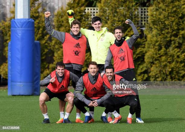 Pedro Cesar Azpilicueta Marcos Alonso Nemanja Matic Cesc Fabregas Thibaut Courtois of Chelsea celebrate winning a mini tournament during a training...