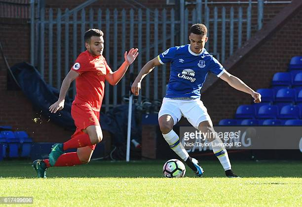 Pedro Chirivella of Liverpool and Antonee Robinson of Everton in action during the Liverpool v Everton Premier League 2 game at Prenton Park on...