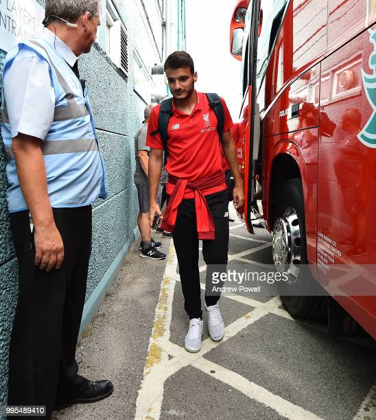 Pedro Chirivella of Liverpool arrives before a preseason friendly match between Tranmere Rovers and Liverpool at Prenton Park on July 10 2018 in...