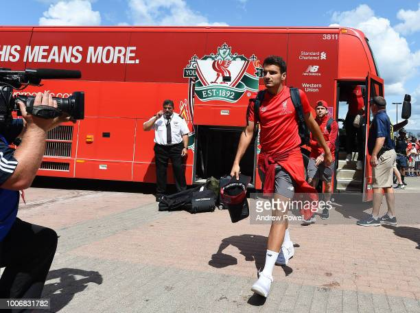 Pedro Chirivella of Liverpool arrives before the International Champions Cup 2018 match between Manchester United and Liverpool at Michigan Stadium...