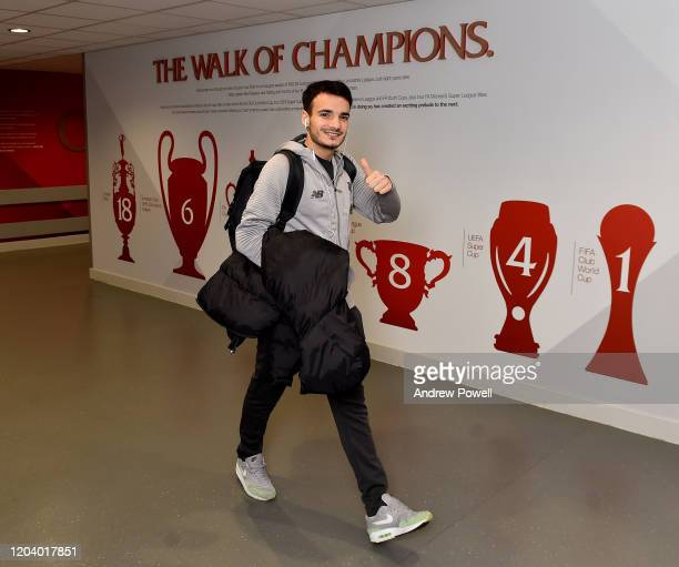 Pedro Chirivella of Liverpool arriving before the FA Cup Fourth Round Replay match between Liverpool FC and Shrewsbury Town at Anfield on February...
