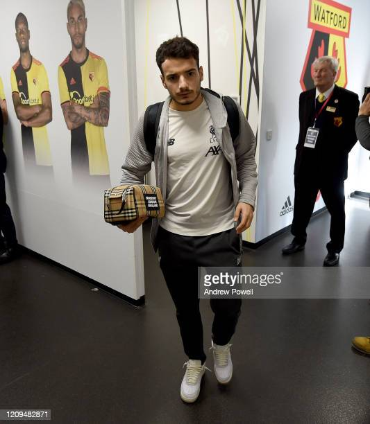 Pedro Chirivella of Liverpool arriving before the Premier League match between Watford FC and Liverpool FC at Vicarage Road on February 29, 2020 in...