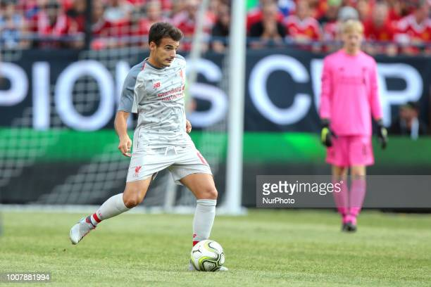 Pedro Chirivella of Liverpool carries the ball during an International Champions Cup match between Manchester United and Liverpool at Michigan...