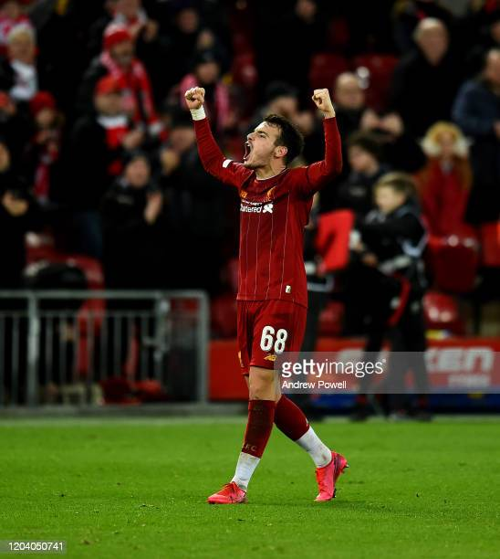 Pedro Chirivella of Liverpool celebrates at the end of the FA Cup Fourth Round Replay match between Liverpool FC and Shrewsbury Town at Anfield on...