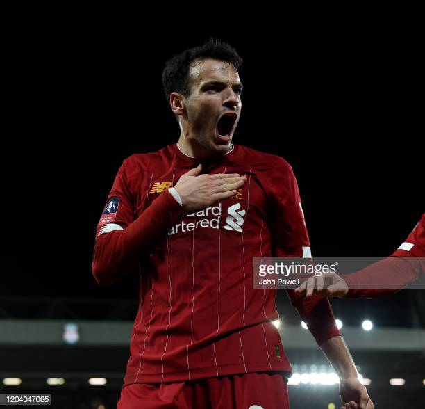 Pedro Chirivella of Liverpool celebrates the opening goal during the FA Cup Fourth Round Replay match between Liverpool FC and Shrewsbury Town at...