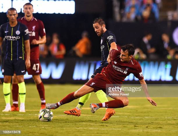 Pedro Chirivella of Liverpool competes with Bernardo Silva of Manchester City during the International Champions Cup 2018 match between Manchester...