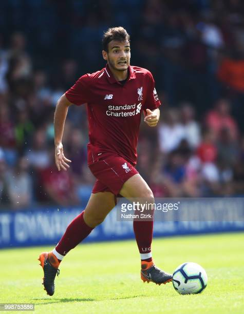 Pedro Chirivella of Liverpool controls the ball during a preseason friendly match between Bury and Liverpool at Gigg Lane on July 14 2018 in Bury...