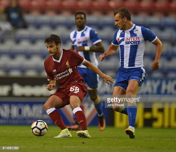 Pedro Chirivella of Liverpool during a Pre Season Friendly match between Wigan Athletic and Liverpool at DW Stadium on July 14 2017 in Wigan England