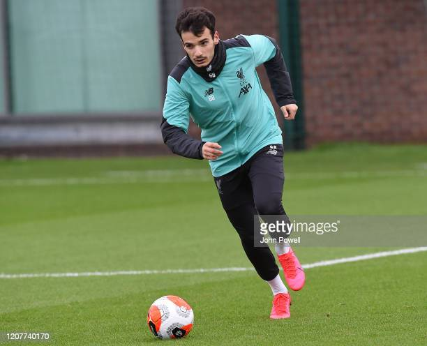 Pedro Chirivella of Liverpool during a training session at Melwood Training Ground on February 21, 2020 in Liverpool, England.