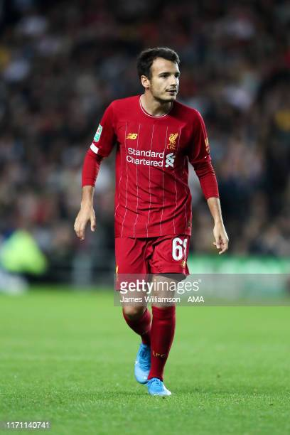Pedro Chirivella of Liverpool during the Carabao Cup Third Round match between Milton Keynes Dons and Liverpool at Stadium mk on September 25 2019 in...