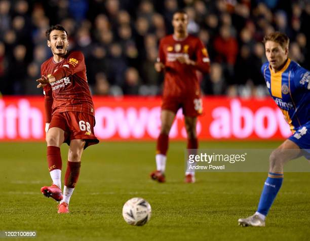 Pedro Chirivella of Liverpool during the FA Cup Fourth Round match between Shrewsbury Town and Liverpool FC at New Meadow on January 26, 2020 in...