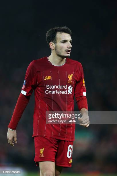 Pedro Chirivella of Liverpool during the FA Cup Fourth Round Replay match between Liverpool and Shrewsbury Town at Anfield on February 4, 2020 in...