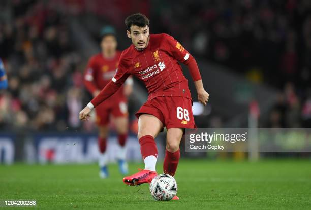 Pedro Chirivella of Liverpool during the FA Cup Fourth Round Replay match between Liverpool and Shrewsbury Town at Anfield on February 04, 2020 in...