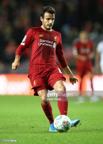 Pedro Chirivella of Liverpool in action during the Carabao Cup Third Round match between MK Dons and Liverpool at Stadium mk on September 25 2019 in...