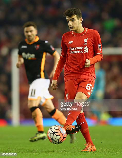 Pedro Chirivella of Liverpool in action during The Emirates FA Cup Third Round Replay match between Liverpool and Exeter City at Anfield on January...