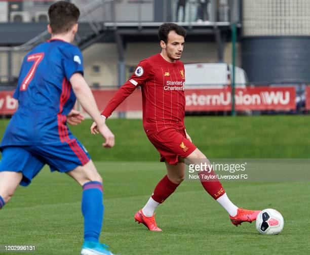 Pedro Chirivella of Liverpool in action during the Premier League Cup game on February 24, 2020 in Kirkby, England.