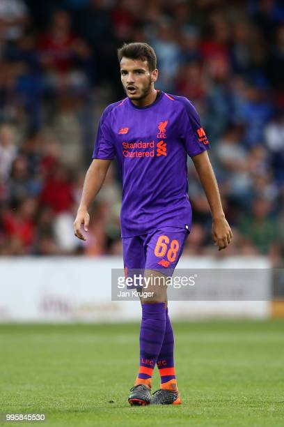 Pedro Chirivella of Liverpool in action during the PreSeason Friendly match between Tranmere Rovers and Liverpool at Prenton Park on July 11 2018 in...