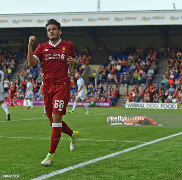 Pedro Chirivella of Liverpool Scores Liverpools Third Goal and celebrates in the pre season friendly between Tranmere Rovers and Liverpool at Prenton...