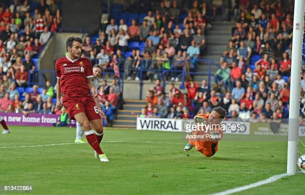 Pedro Chirivella of Liverpool Scores Liverpools Third Goal in the pre season friendly between Tranmere Rovers and Liverpool at Prenton Park on July...