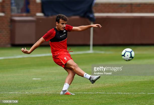 Pedro Chirivella of Liverpool talking tactics with his players during a training session at the Michigan Stadium on July 27 2018 in Ann Arbor Michigan