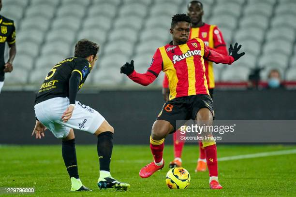 Pedro Chirivella of Nantes, Cheick Doucoure of Lens during the French League 1 match between RC Lens v Nantes at the Stade Bollaert-Delelis on...