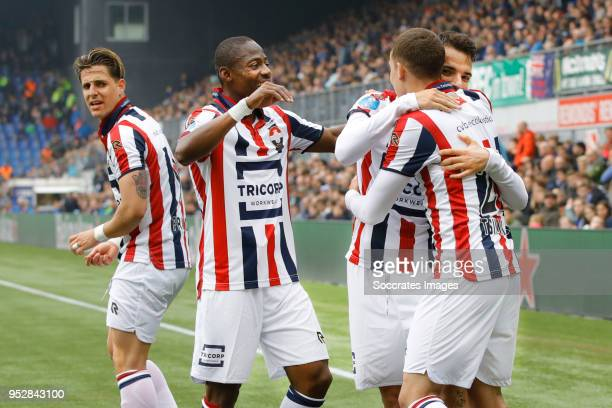 Pedro Chirivella of Willem II celebrates 01 with Kostas Tsimikas of Willem II Eyong Enoh van Willem II Fran Sol of Willem II during the Dutch...