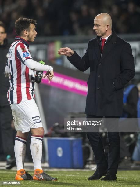 Pedro Chirivella of Willem II coach Reinier Robbemond of Willem II during the Dutch Eredivisie match between Willem II Tilburg and PSV Eindhoven at...