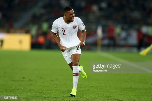 Pedro Correia of Qatar celebrates following his sides victory in the AFC Asian Cup final match between Japan and Qatar at Zayed Sports City Stadium...