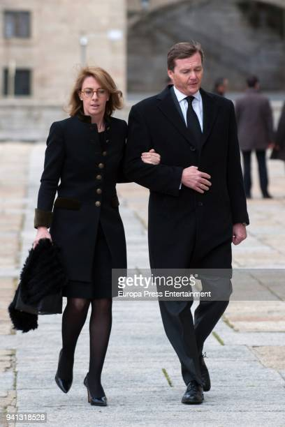 Pedro de Borbon Dos Sicilias and Sofia Landaluce y Melgarejo attend the the mass to mark the 25th Anniversary of the Count of Barcelona's death the...