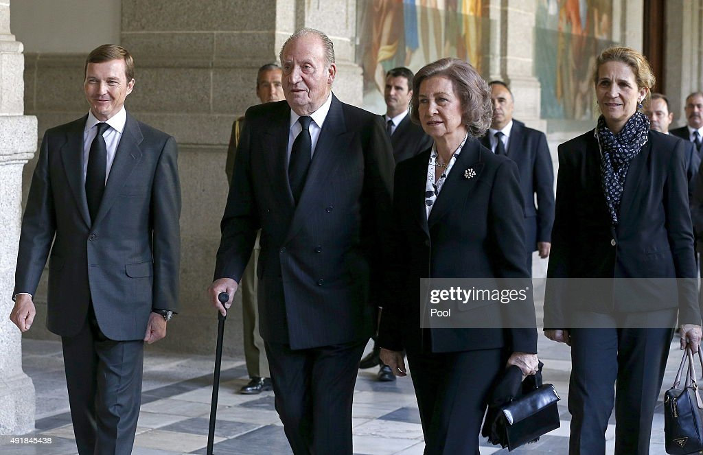 Pedro de Borbon Dos Sicilias, King Juan Carlos of Spain, Queen Sofia of Spain and Princess Elena of Spain arrive at El Escorial Monastery for a Corpore Insepulto Mass of Spain's Duke of Calabria, Carlos de Borbon Dos Sicilias on October 8, 2015 in San Lorenzo de El Escorial, Spain. Carlos de Borbon was born in 1938 and attended school with King Juan Carlos, where they became very good friends. He ranked first in the line of succession after the descendants of Don Juan Carlos and Queen Sofia.
