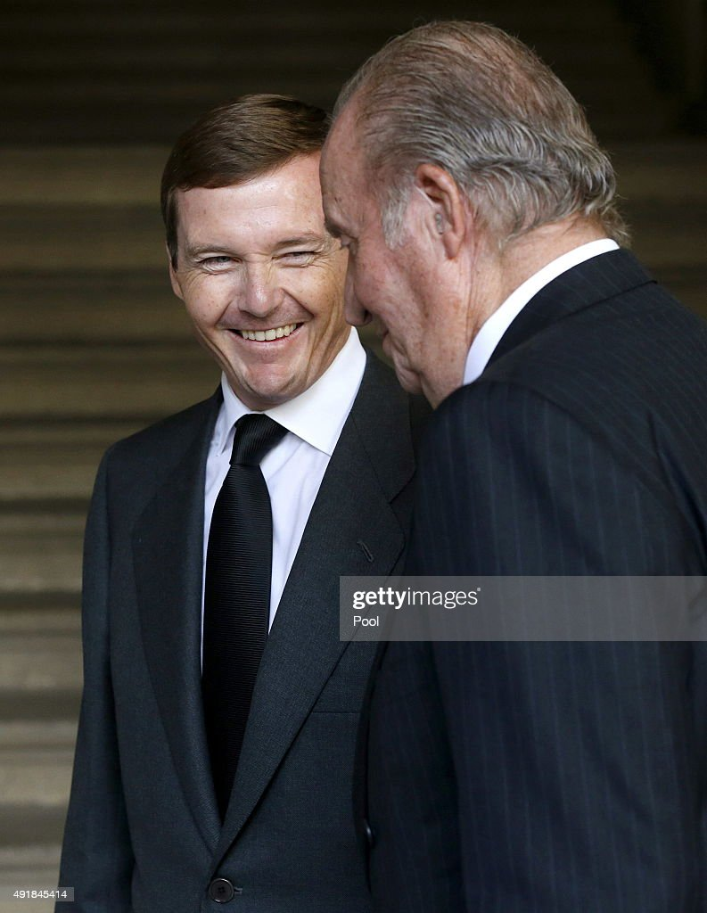 Pedro de Borbon Dos Sicilias speaks to King Juan Carlos of Spain as they arrive at El Escorial Monastery for a Corpore Insepulto Mass of Spain's Duke of Calabria, Carlos de Borbon Dos Sicilias on October 8, 2015 in San Lorenzo de El Escorial, Spain. Carlos de Borbon was born in 1938 and attended school with King Juan Carlos, where they became very good friends. He ranked first in the line of succession after the descendants of Don Juan Carlos and Queen Sofia.