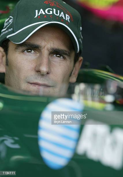 Pedro de la Rosa of Spain and Jaguar awaits the start of first practice for the Formula One French Grand Prix at Nevers MagnyCours Circuit France