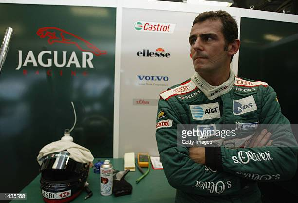 Pedro de la Rosa of Spain and Jaguar awaits the start of first practice for the FIA Formula One Grand Prix at the Indianpolis Motorspeedway...