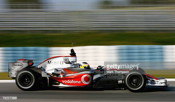 Pedro de la Rosa of Spain and McLarenMercedes in action during Formula One testing at the Circuit De Jerez on February 6 2007 in Jerez de la Frontera...