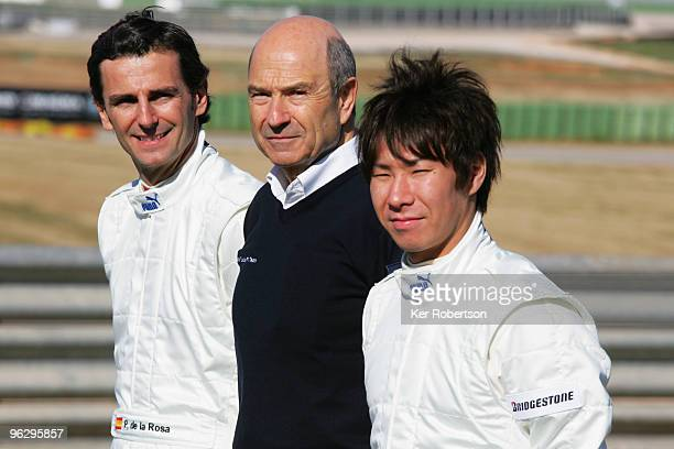Pedro de la Rosa of Spain, BMW Sauber team owner Peter Sauber and Kamui Kobayashi of Japan attend the unveiling of the new BMW Sauber C29 at the...