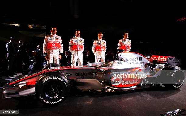 Pedro de la Rosa of Spain, Lewis Hamilton of Great Britain, Heikki Kovalainen of Finland and Gary Paffett of Great Britain pose during The Vodafone...