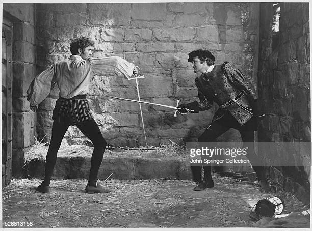 Pedro de Vargas played by Tyrone Powers sword fights with Diego De Silva played by John Sutton in Captain from Castile