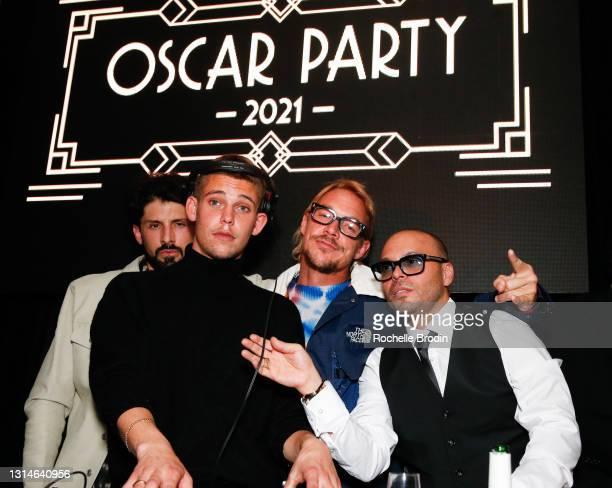 Pedro, DJ Hank, Diplo, and Richie Akiva attend Darren Dzienciol & Richie Akiva's Oscar Party 2021 on April 25, 2021 in Bel Air, California.
