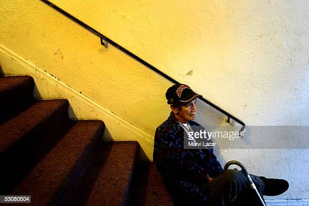 Pedro Dosono waits for a bus headed to a northern California casino May 5 2005 in San Francisco He fought the Japanese during WWII as a guerrilla...