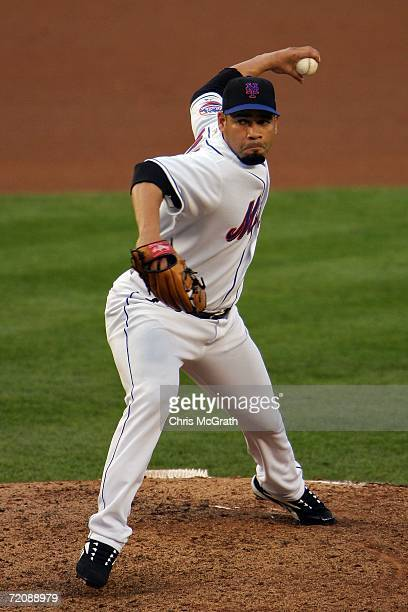 Pedro Feliciano of the New York Mets pitches against the Los Angeles Dodgers during game one of the National League Division Series at Shea Stadium...